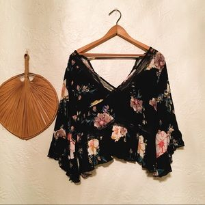 Boho lace and floral top